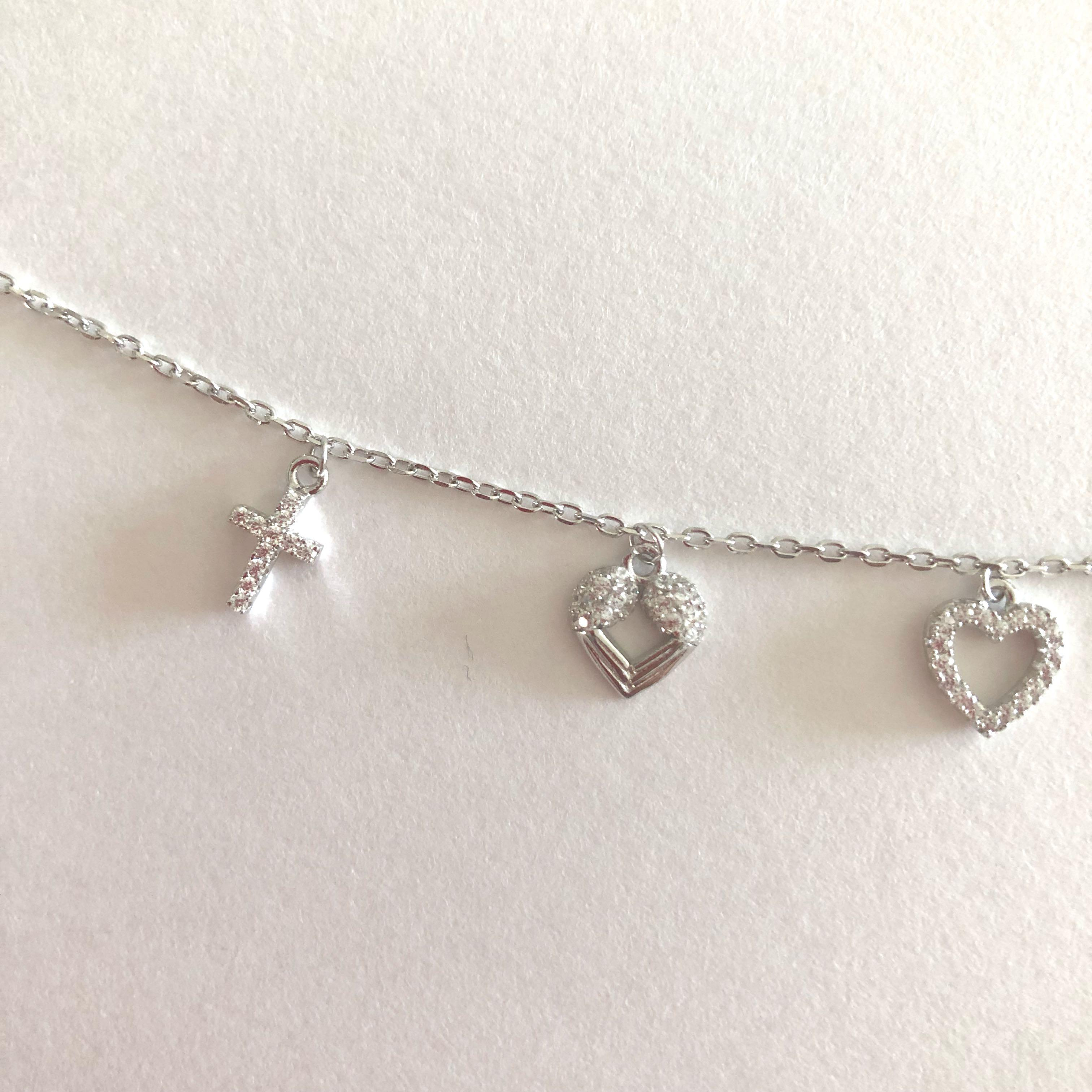 Italian Bracelet with cross and heart charms