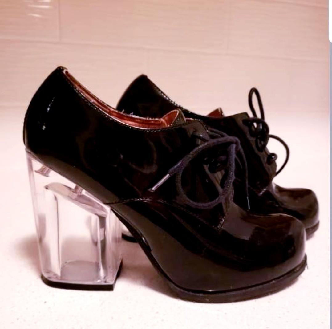 Jeffery Campbell patent leather oxfords w/ clear lucite heel
