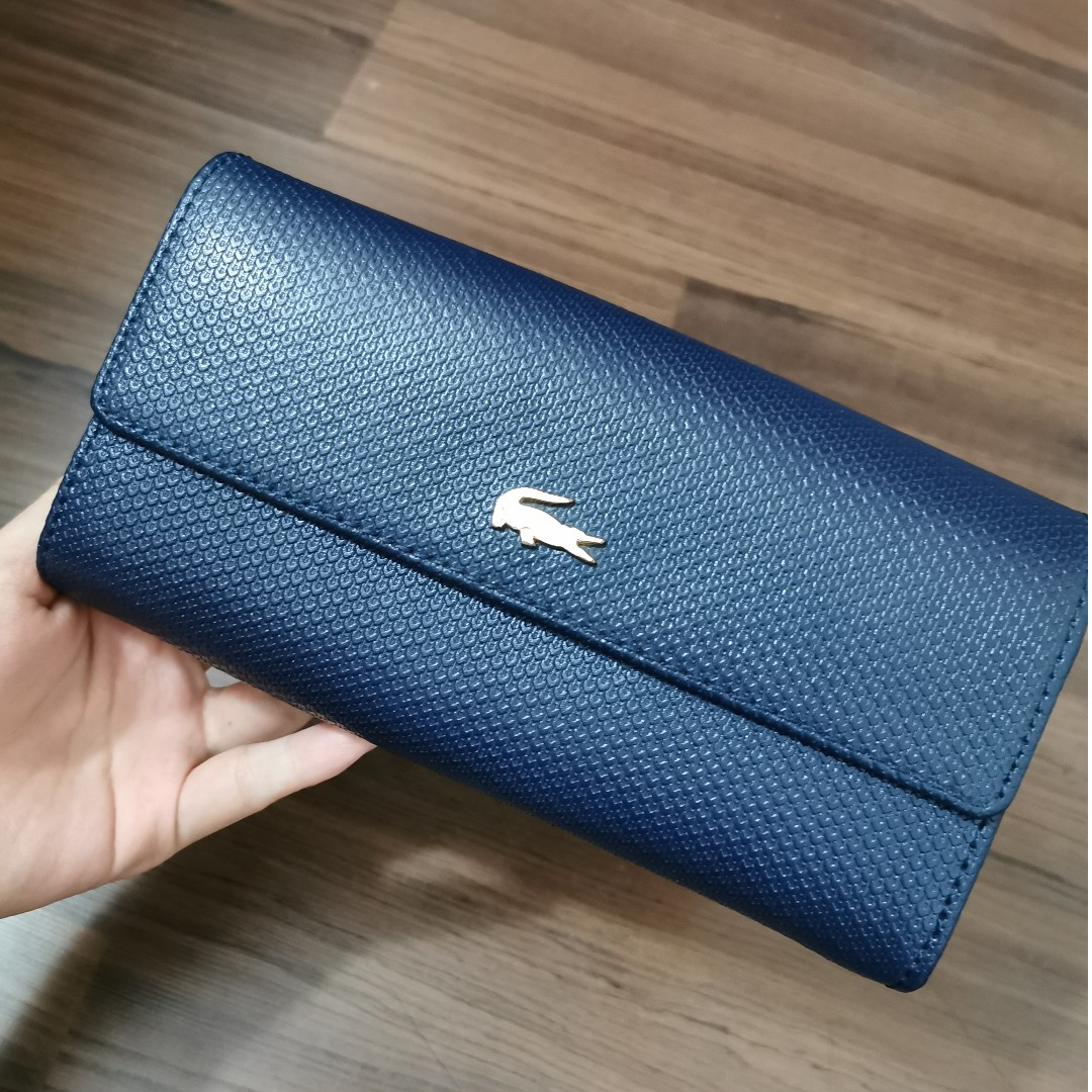 Lacoste Womens Chantaco Leather Credit Card Holder