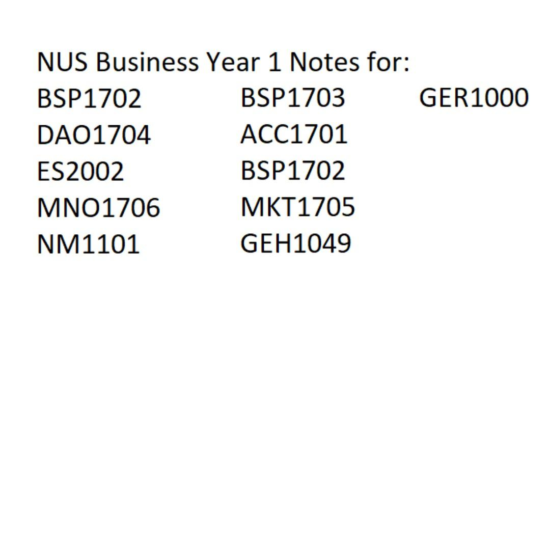 NUS Business Year 1 notes and textbooks, Books & Stationery