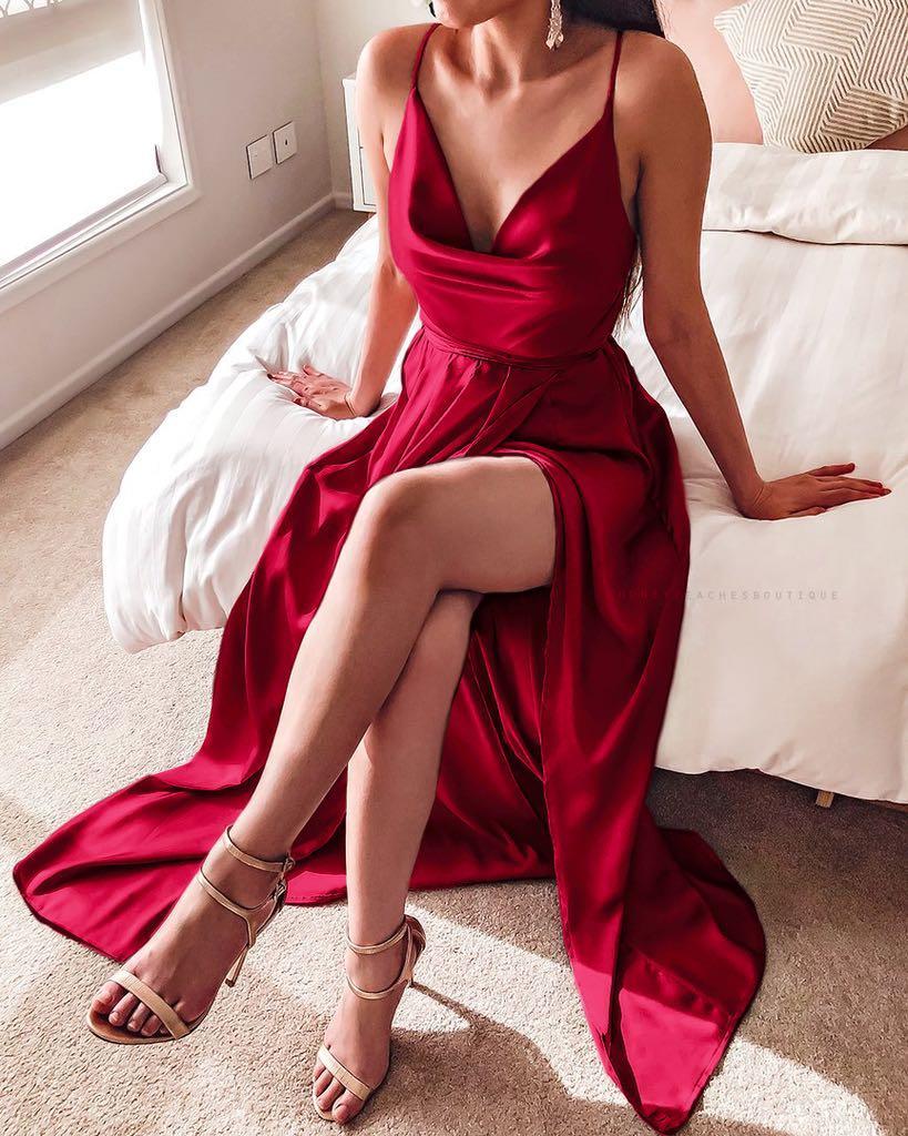 Red wine ball dress