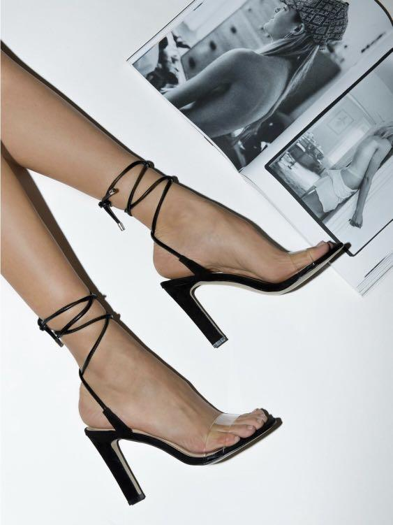 THERAPY BALBOA BLACK CLEAR STRAPPY HEELS 7