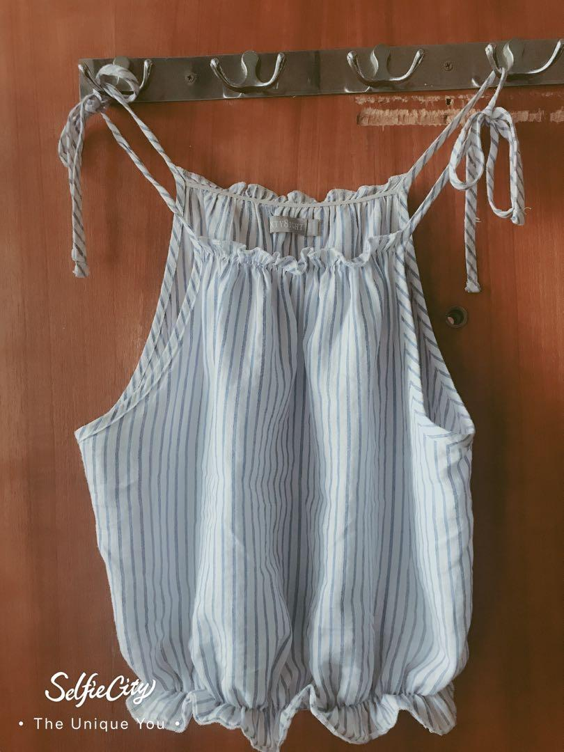 Vani top in white and blue stripes