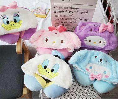 Sanrio Melody / Disney Donald Etc Neck Hoodie Cushion