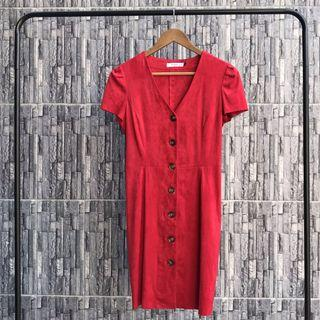 Mango Red Velvet Button Up Dress