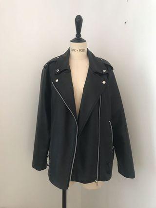 OAK + FORT Oversized Faux Leather Jacket