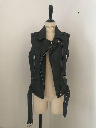TOPSHOP Leather Biker Vest