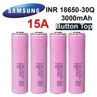 Samsung 30Q Button Top 3000mAh 15A Li-ion INR 18650 Battery
