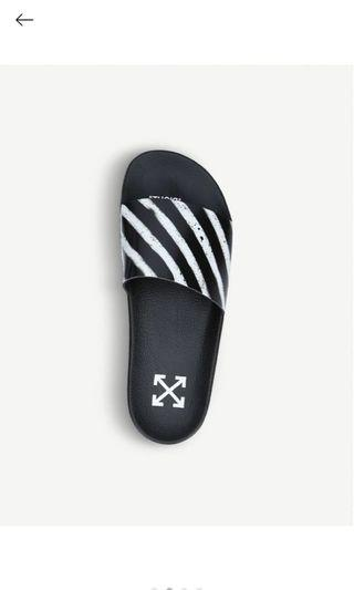 Off-white spray painted slides