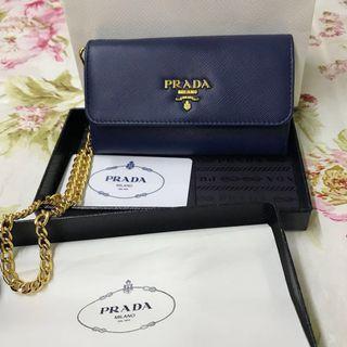 PRADA藍色皮夾(含盒)