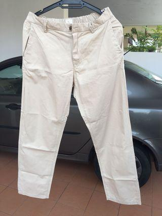 Cream, Straight Loose Cut Pants With Waistband