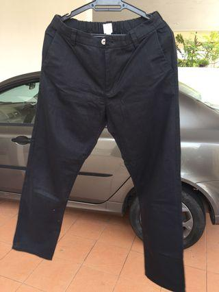 Black, Straight Loose Cut Pants With Waistband