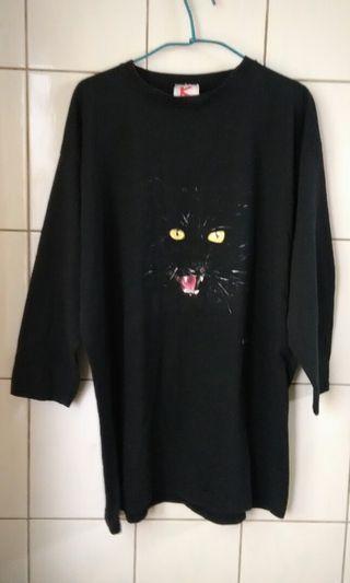 古著 美國製 黑色貓臉上衣