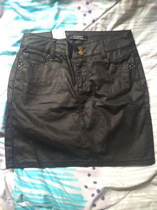 Black denim & gold wax coated skirt