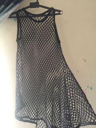 Fishnet throwover dress