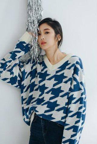 🇰🇷chi chi🇰🇷 styleoolala藍白千鳥格紋厚針織毛衣 ❤️