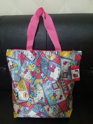 超Q 卡通防水提袋 kitty購物袋 kitty包袋 大容量好收納書袋 媽媽包