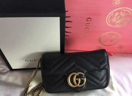 Super Mini Gucci GG Marmont Matelassè black