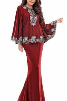 NJOLLA Boutique ExclusiveCollections Embroidery Batwing Kurung