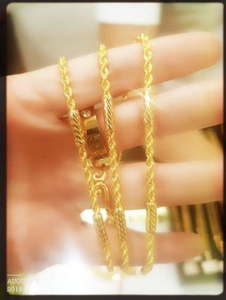 Gold 916 Latest Bar Rope Chain