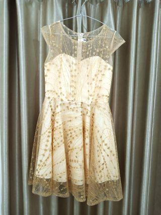 [FREE ONGKIR!!] BAJU PESTA EMAS / GOLD GLITTER DRESS