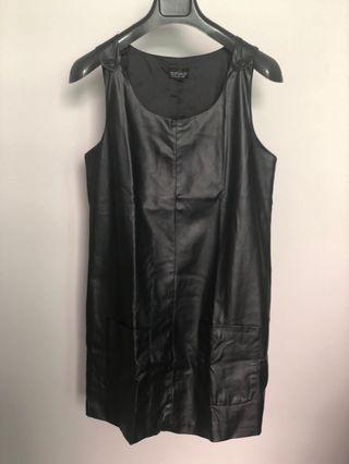Topshop black faux leather dress with pockets