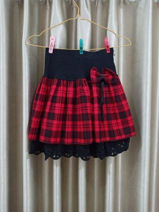 ROK FLANEL MERAH KOTAK-KOTAK / RED CHECKERED SKIRT