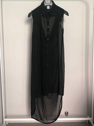 Black sheer long button down dress