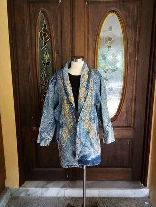Embroidery Long Denim Jacket