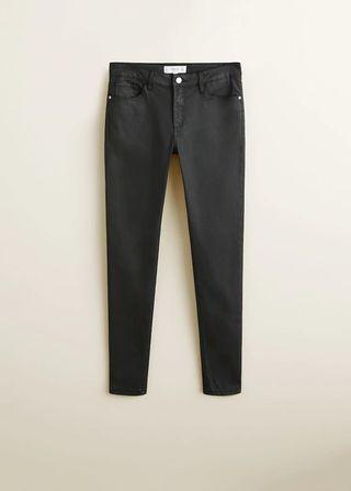 MANGO Waxed Skinny Belle Jeans (Black)