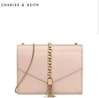 Charles & Keith Sling / Clutch Bag Nude