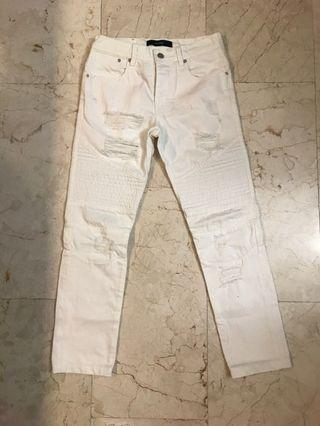 STAMPD White Ripped Biker Jeans Size 28