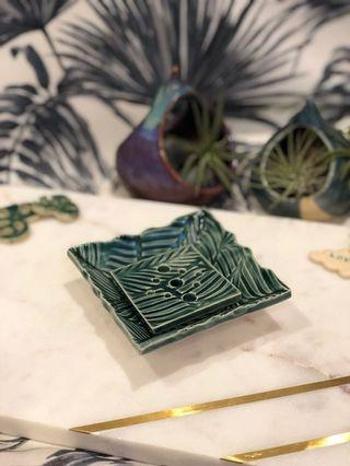Handmade ceramic square Dish/plate/soapdish (petite), with leaf design (dark green). Comes with soap dish attachment.