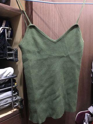 細肩帶背心 小可愛 綠