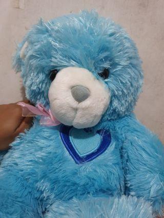 Boneka Teddy Bear beruang blue biru ukuran sedang open barter