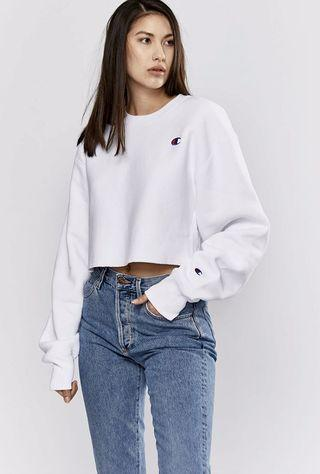 Champion Reverse Weave Cropped Cut-Off Crew White