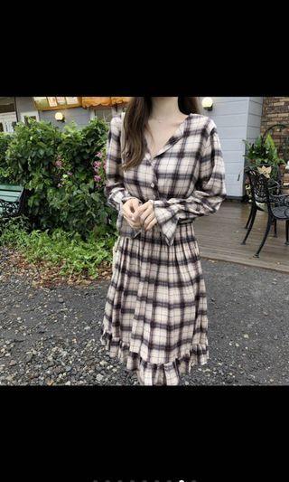 氣質格紋洋裝 格子洋裝 連身洋裝 長袖  腰身