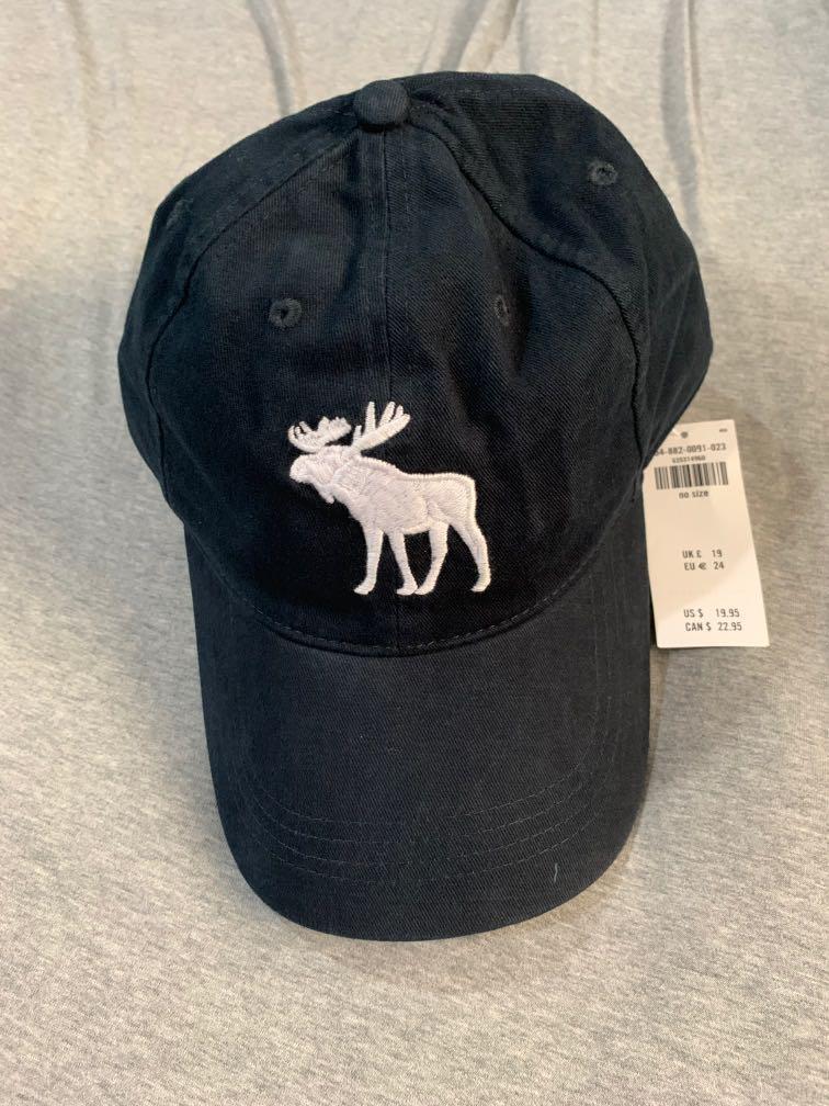 Abercrombie & Fitch 帽子 AF 復古 棒球帽 麋鹿 深藍Logo