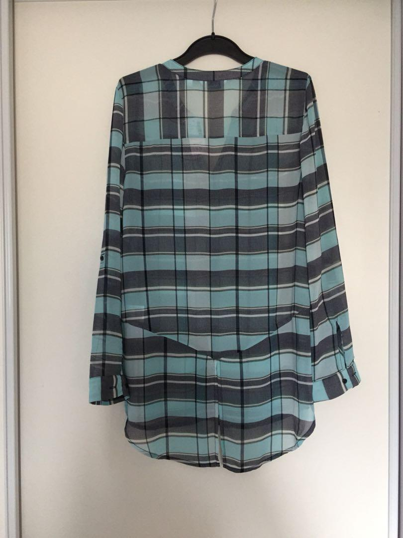 Brand New Chiffon Plaid Button Down Blouse (Size xsmall)
