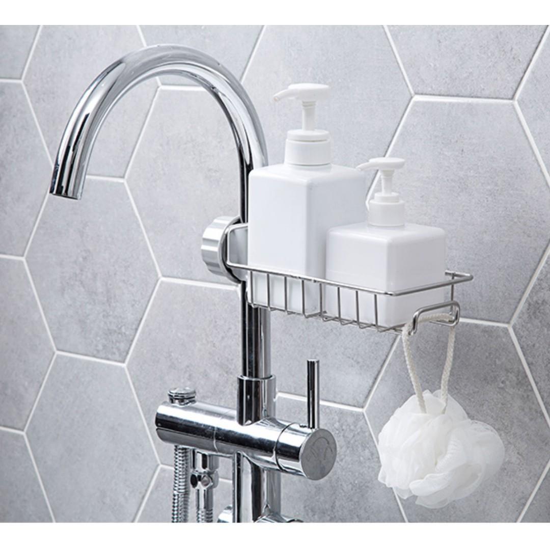 Faucet Drainage Rack / Stainless Steel / Sink Tap Draining Sponge Soap Holder For Kitchen Bathroom