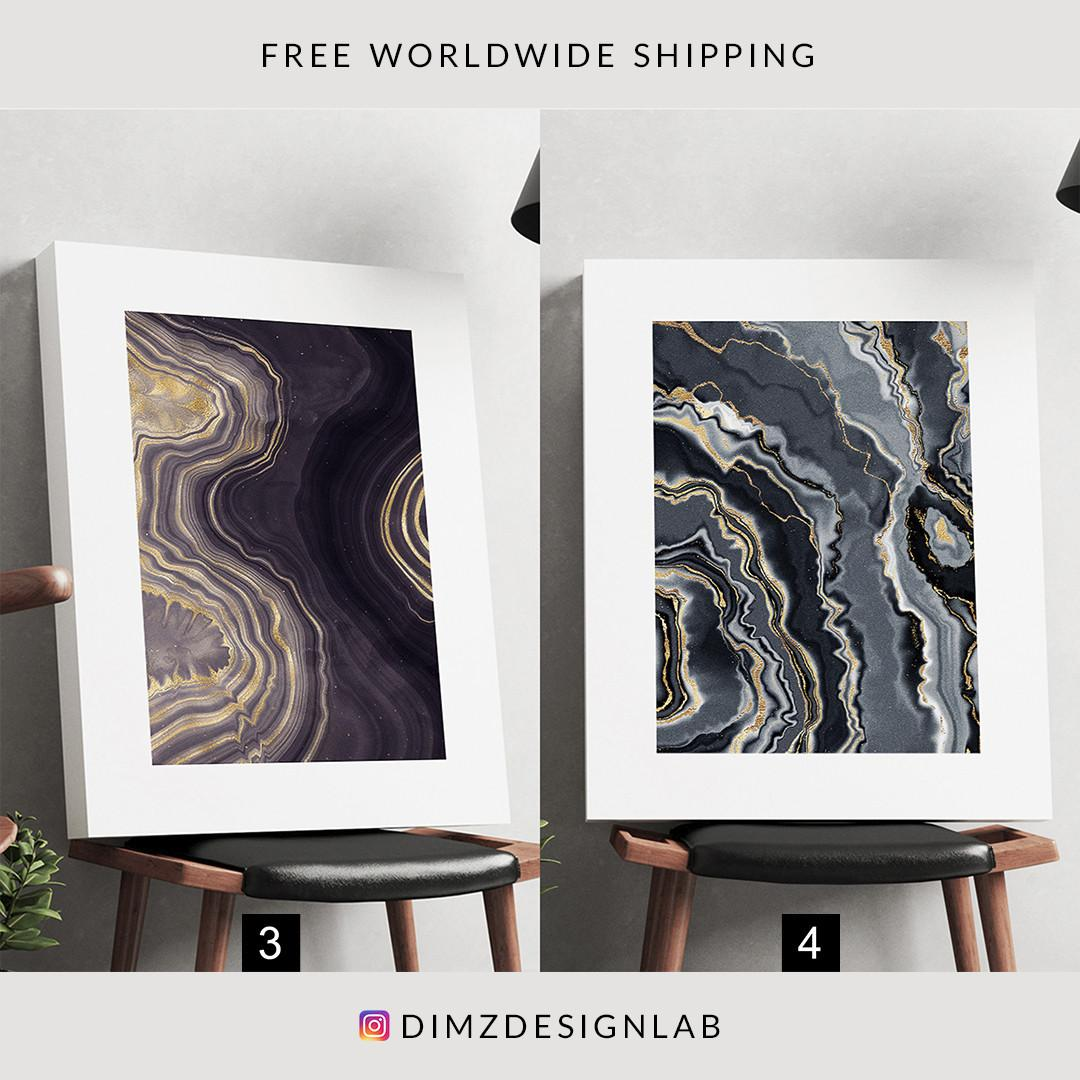 Gold Agate Gemstone Painting Canvas Print, Art Print, Wall Art, Wall Decor, Wall Hanging 11 x 14 Inch