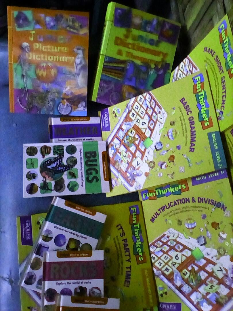 GROLIER'S FUN THINKERS WITH MINI ENCYCLOPEDIAS AND 2 CHILDREN'S DICTIONARIES&THESAURUS