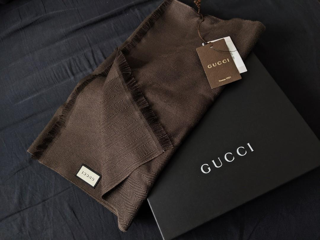 GUCCI - (PRICE LOWERED) BNWT 100% AUTHENTIC UNISEX SCARF - DARK BROWN - 40cm x 190cm
