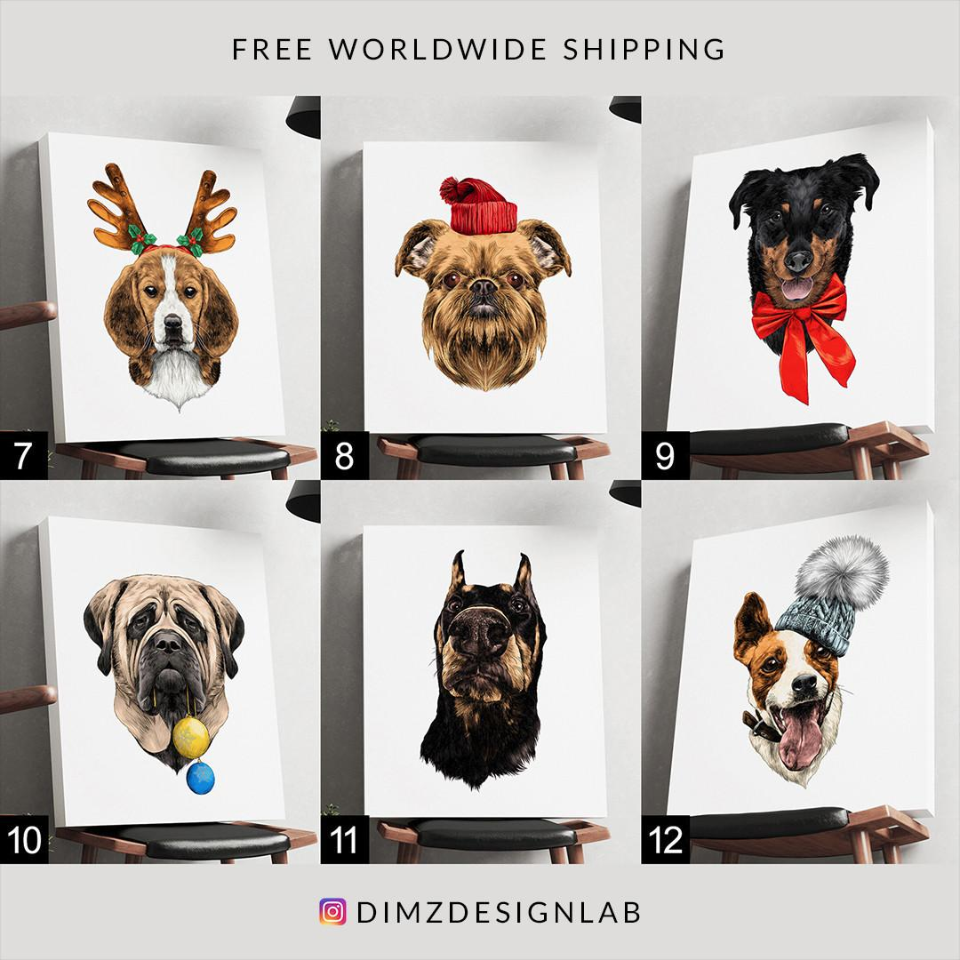 Husky Bulldog Beagle Pit Bull Dalmatian Mastiff Doberman Akita Inu Dog Canvas Print, Art Print, Wall Art, Wall Decor, Wall Hanging 11 x 14 Inch