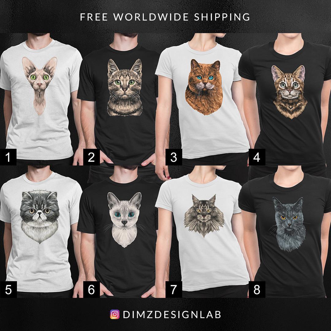 Maine Coon Scottish Fold Devon Rex Bengal Sphynx Cat Black White Men Women Tees T Shirt TShirt