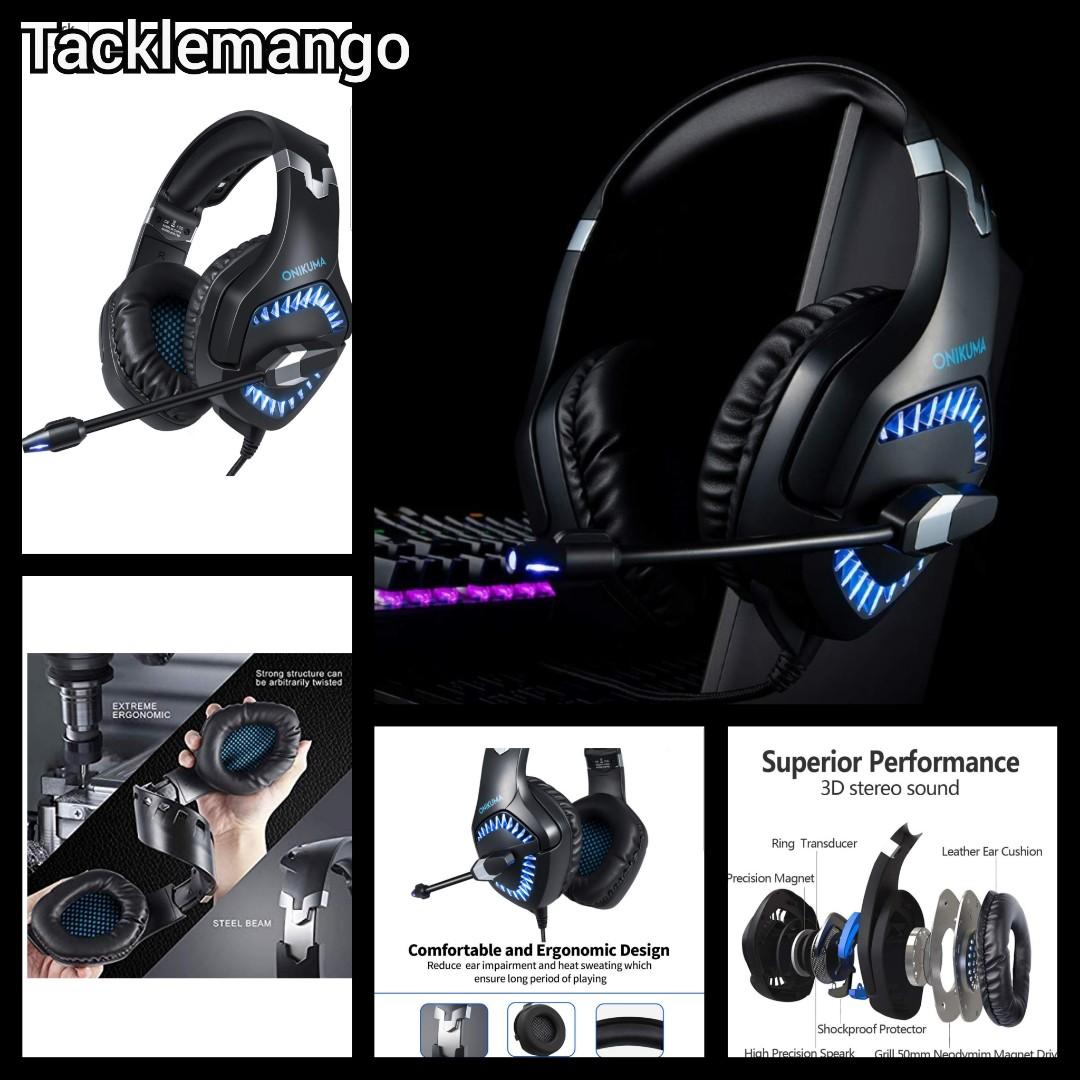 Microphone for PC Mac Hizek Over-Ear Stereo Wired Gaming Headphones Headset