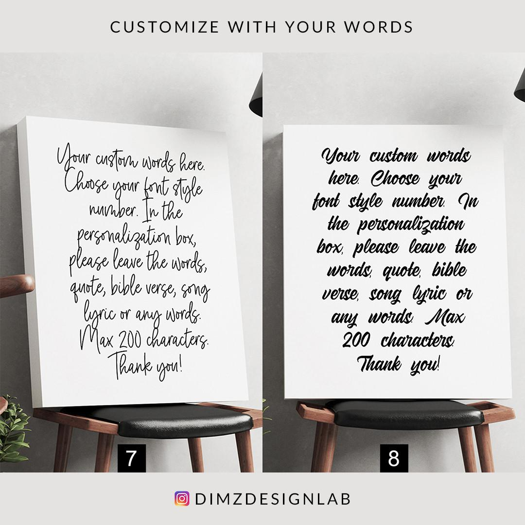 Personalized Custom Text, Typography, Quotes, Bible Verse, Song Lyrics Canvas Print, Art Print, Wall Art, Wall Decor, Wall Hanging 11 x 14 Inch