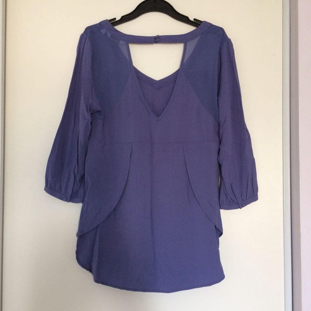 Reitmans Blouse with Back Cutout and Sheer Panels (Size X-Small)