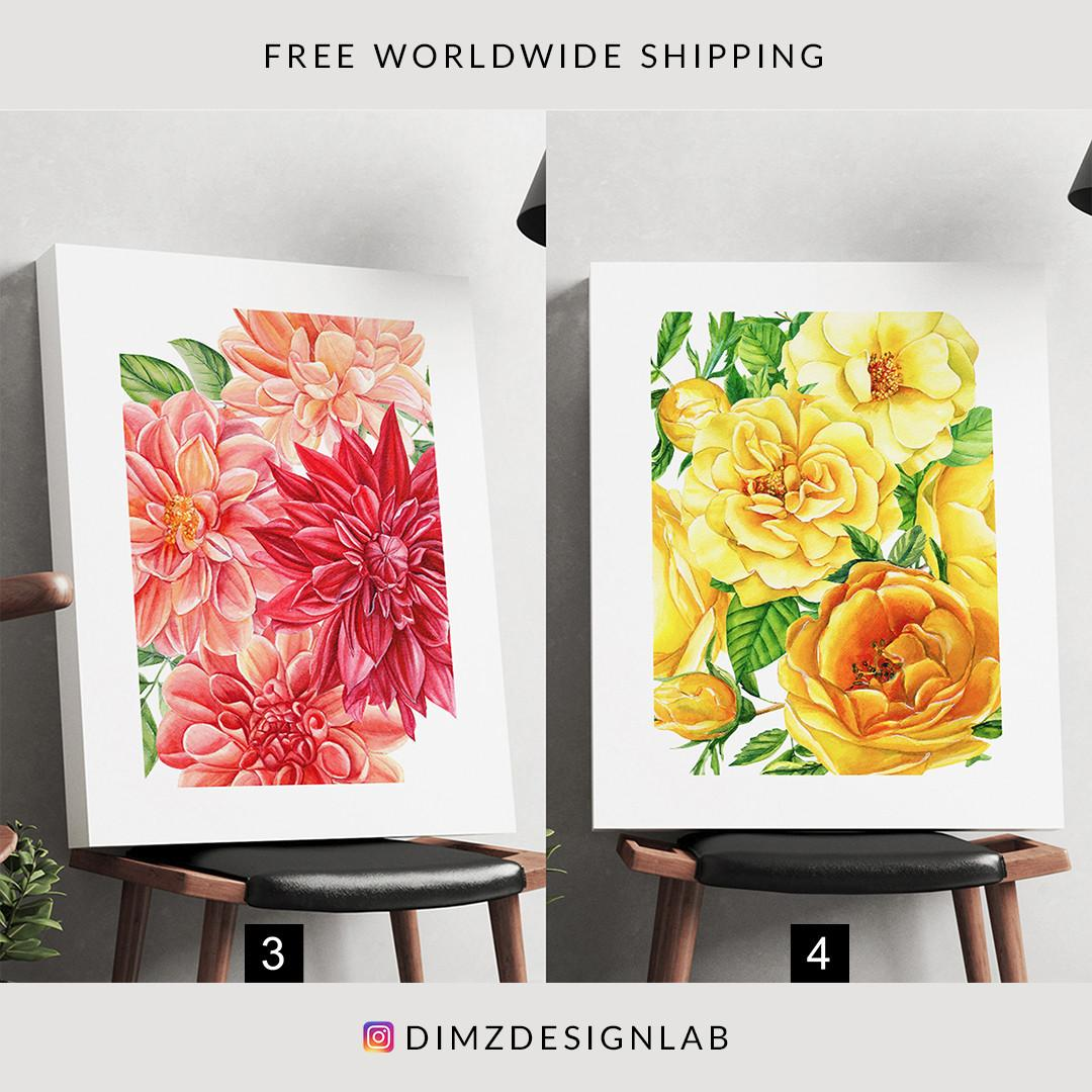 Rose Sunflower Lavender Flower Floral Painting Canvas Print, Art Print, Wall Art, Wall Decor, Wall Hanging 11 x 14 Inch