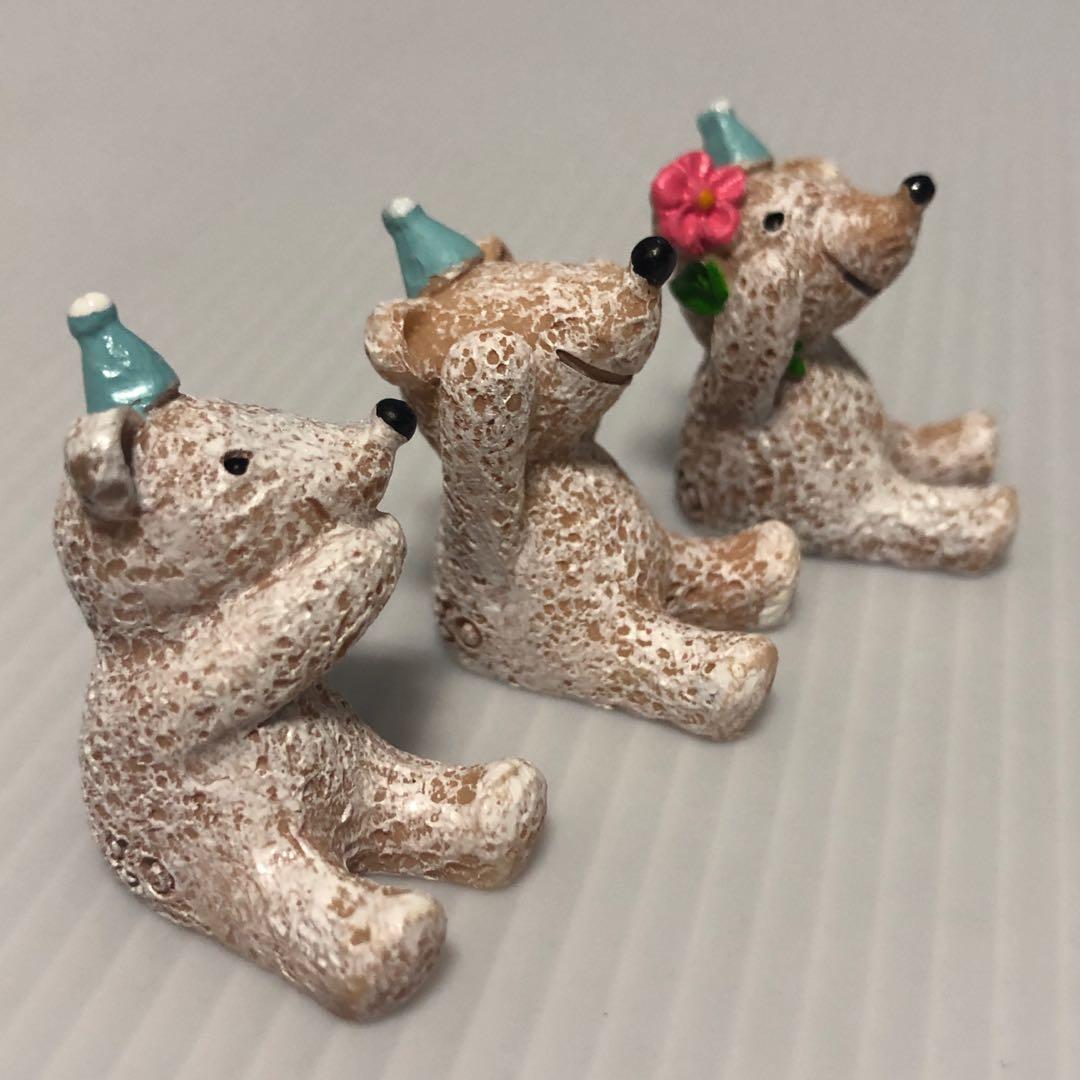Three Wise Polar Bears Figurines for Terrariums/Planters